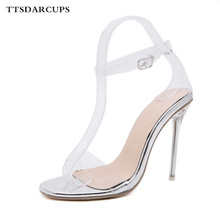 New crystal high heeled sandals Sexy transparent fish mouth high heel shoes Comfortable women's shoes banquet Gladiatus pumps цены онлайн
