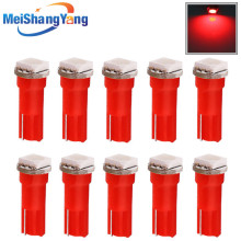 цена на 10pcs T5 1 SMD Red Dashboard Wedge LED Car Light Bulb Lamp 74 dash led car bulbs interior Lights Car Light Source parking 12V