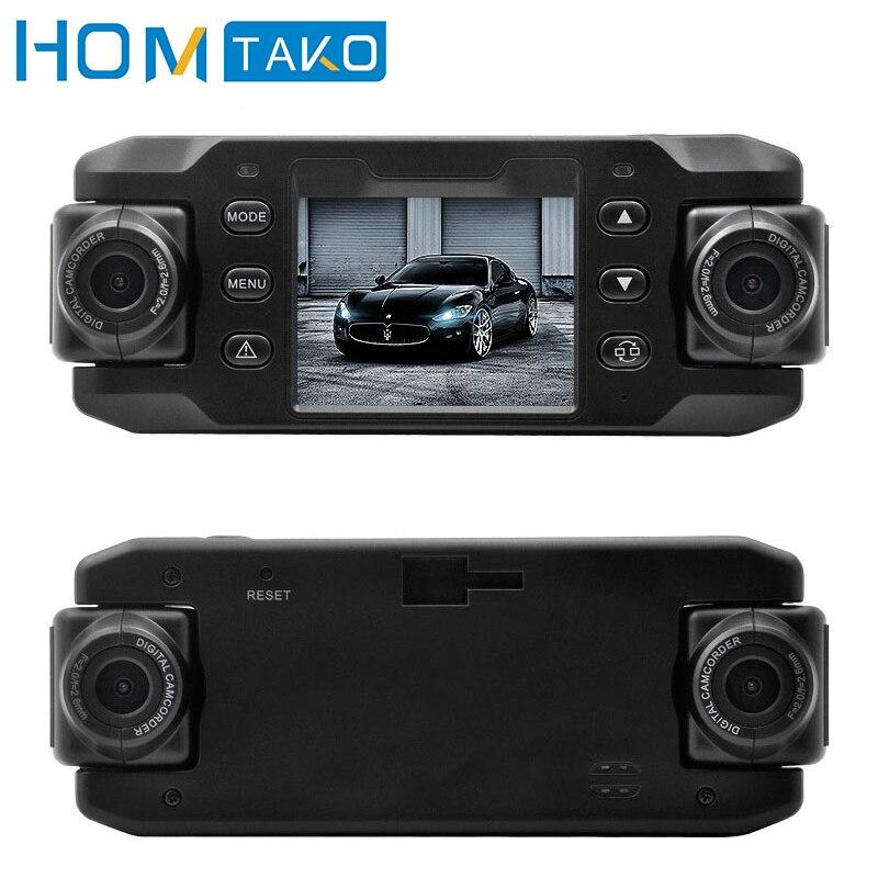 Voiture DVR Full HD réglable double lentille Dash Cam enregistreur vidéo véhicule caméra moniteur détecteur de mouvement automatique registraire caméscope GPS