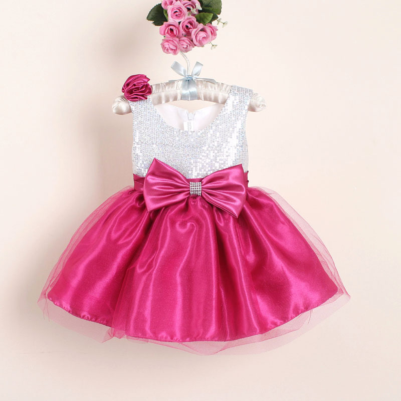 Hot Selling Christmas Toddler Girl Party Dresses With Bow