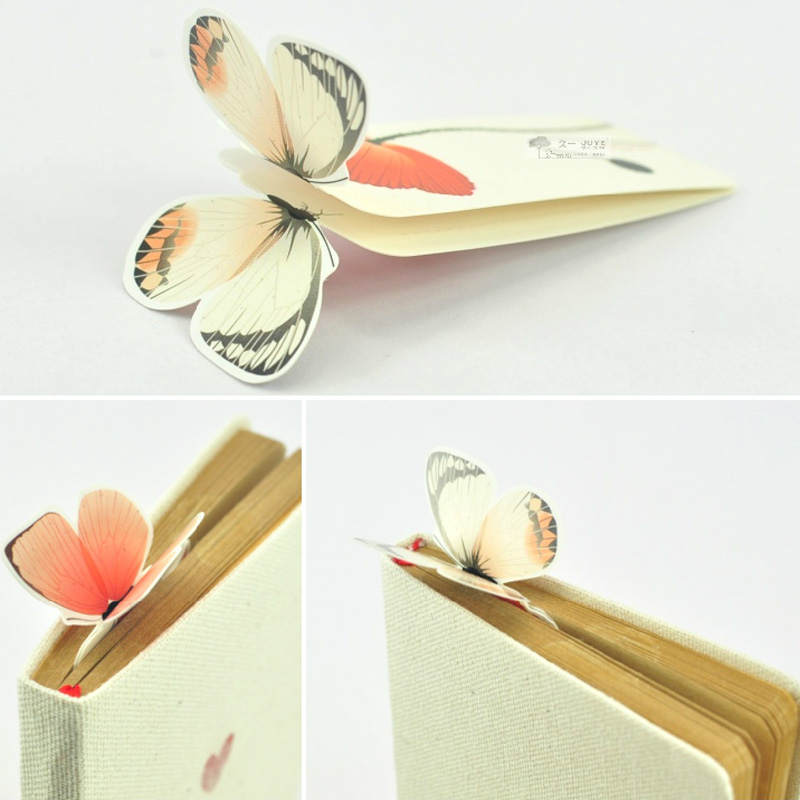 5 PCS Bookmark Butterfly Style Teacher's Gift Book Marker Stationery Gift Realistic Cute Kawaii Cartoon 3d Bookmark
