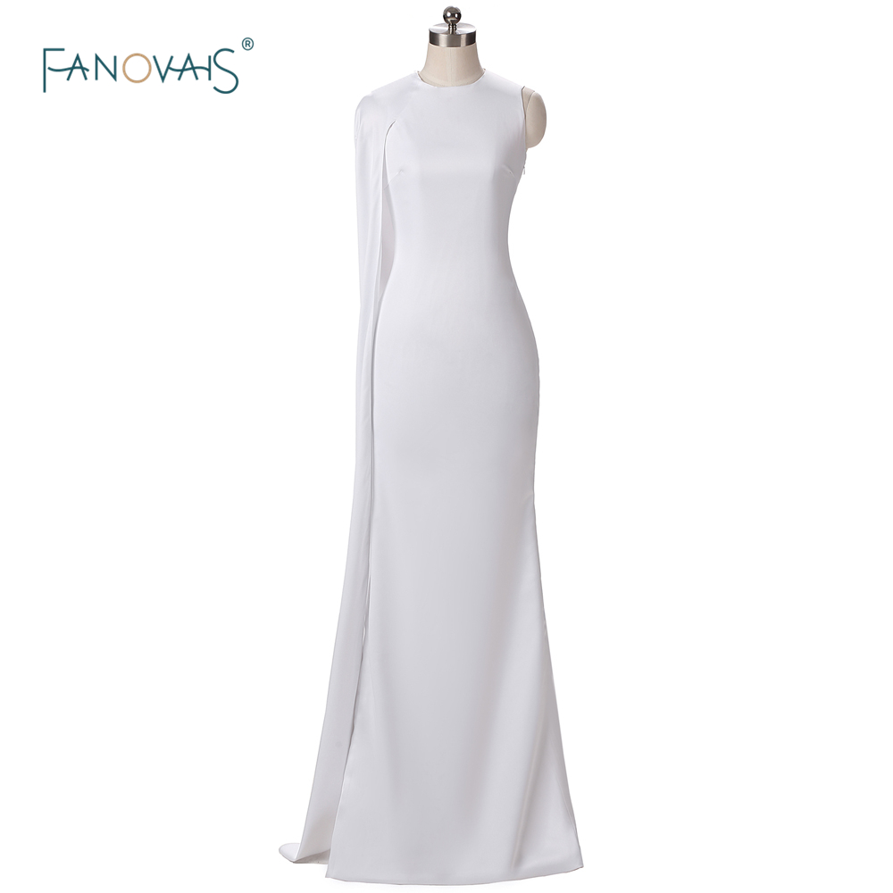 Best buy ) }}Sexy Oscars Red Carpet Dresses Karlie Kloss White Evening Dresses with Cape Mermaid Prom Dress
