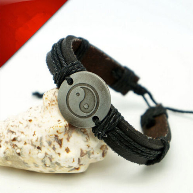 1pcs Shard Yin Yang Charm Leather Bracelets Vintage Rope Cuff Bracelet For Men Wristband
