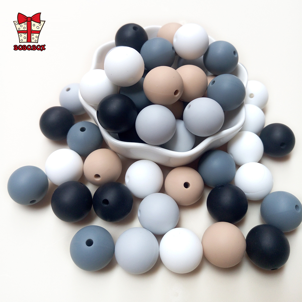 BOBO.BOX 100Pcs/lot Silicone Beads Baby Teether 9/12/15mm Baby Teething Beads For Pacifier Chain Silicone Teether BPA Free