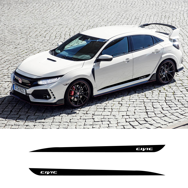 2 PCS Car Side Stripes Side Skirts Graphics Vinyl Sticker Decals Racing Sport Car Stickers For Honda Civic