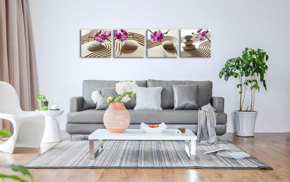 4 Piece Canvas Wall Art Phalaenopsis Flowers Black Stone And White Candles Orchid Zen Poster Home Decorative Painting HD Printed