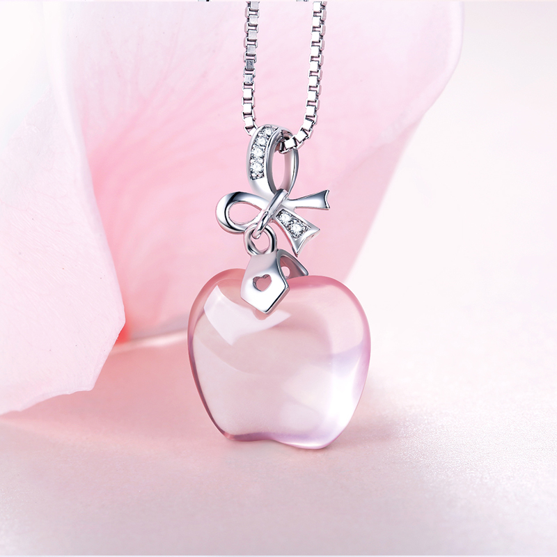 Silver Rose Quartz Apple Pendant Necklace xlH66B