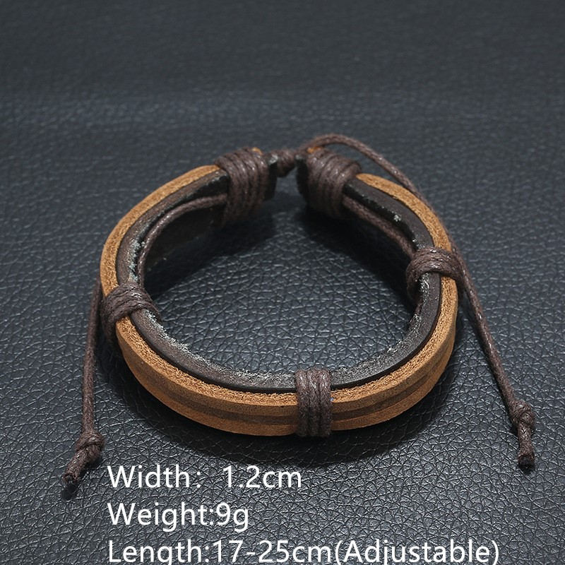 New Jewelry Punk Manufacturers Price Men 39 s Retro Genuine Leather Bracelet Simple Knitted Leather Bracelet Rope Wholesale in Charm Bracelets from Jewelry amp Accessories