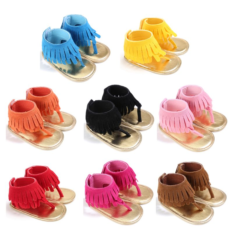 2019 Summer Toddler Sandals Newborn Baby Girls Tassel Summer Shoes Anti-slip Flip Flop Prewalker 0-18M