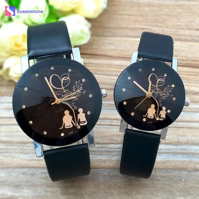 New Lover's Watch Student Couple Stylish Quartz Wrist Watch Love Witness Symbol Lovers Printed Glass Belt Quartz Watches Relogio