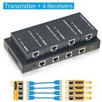 Aikexin 4 порта HDMI удлинитель 60 м, 1X4 HDMI сплиттер Extender более CAT5e/CAT6/CAT7 Ethernet кабель до to196ft (1 TX + 4 RX)