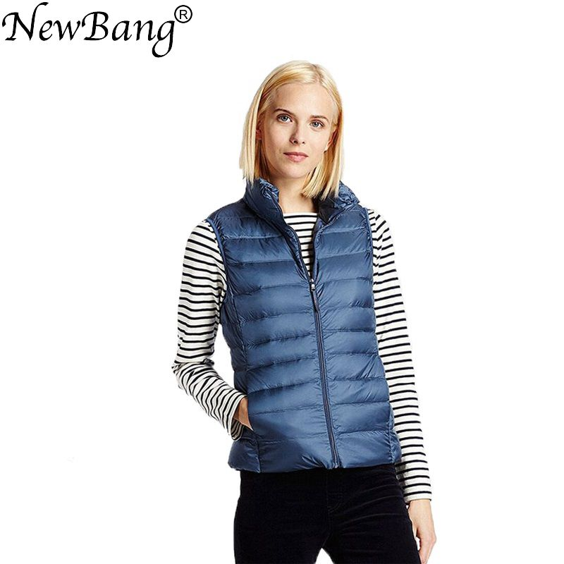 NewBang Brand Women Sleeveless Coat Winter Ultra Light White Duck Down Vest Female Slim Vest Women's Windproof Warm Waistcoat