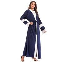 Muslim Abaya Dress for Women Patchwork Loose Long Muslim Cardigan Abaya Pink Blue Moroccan Dresses Saudi Arabia Turkish Dress