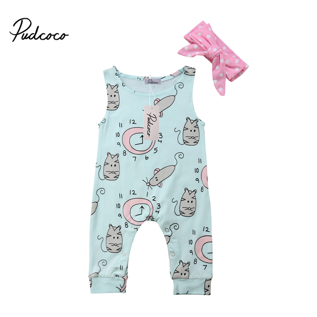 11369b8e3c0 2018 Brand New Newborn Toddler Infant Baby Girl Clothes Flower Jumpsuit  Romper +Headband 2Pcs Outfit Clock Mouse Printed Sunsuit