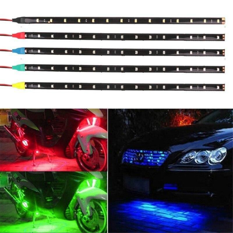 30CM LED Motorrad Dekorative Lampe Streifen Wasserdichte Flexible Unterboden Boot Atmosphäre Dekorative Lampe Rot Grün Blau Weiß