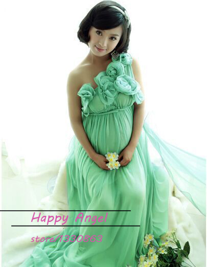 new pregnant maternity women photography props chiffon dress green romantic fancy clothing photo shoot baby shower
