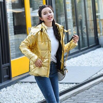 Women Winter Coats Gold Silver Color Style Female Jacket Wide Fur Collar Warm   Parka   Abrigos Mujer Invierno