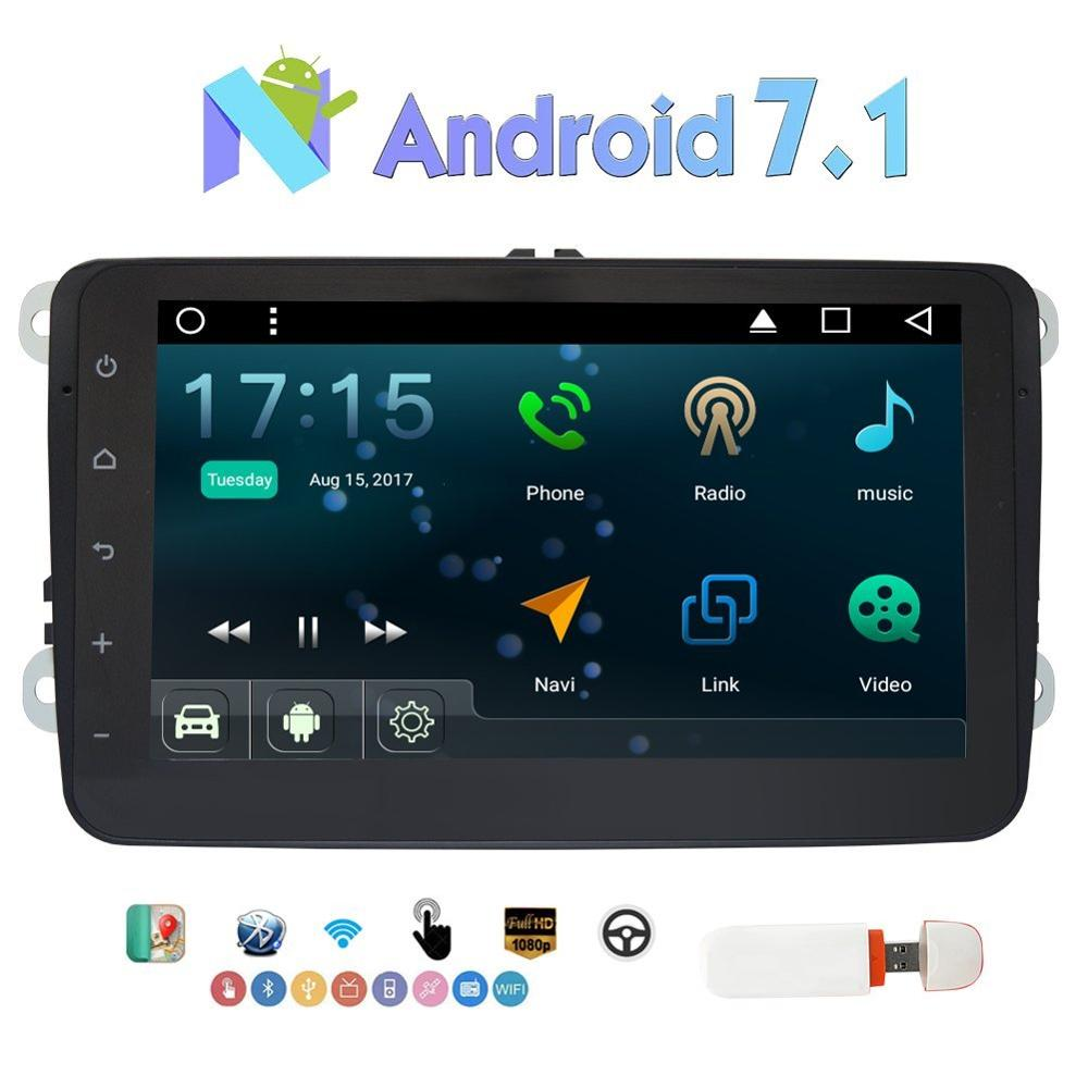 Double Din Android 7 1 Nougat 8 GPS Car Stereo Autoradio for Volkswagen Support GPS Bluetooth