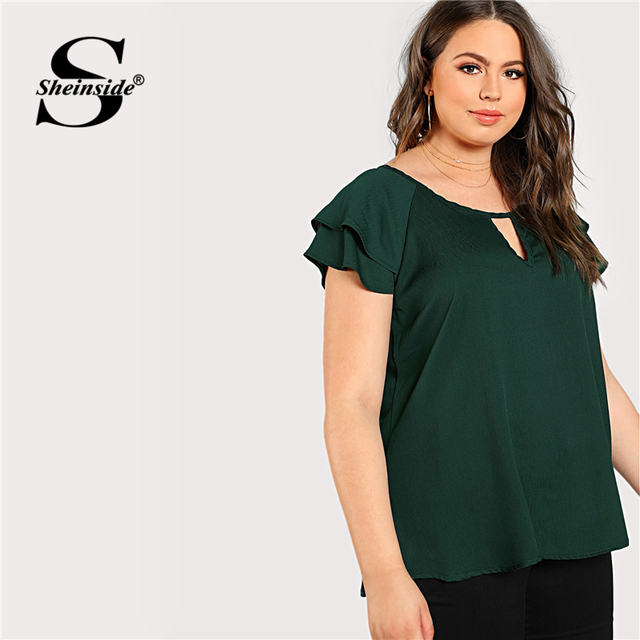 Sheinside Green Plus Size Keyhole Neck Loose Top Long Blouse With Butterfly Sleeve Summer Tops for Women 2019 Cap Sleeve Blouses 2
