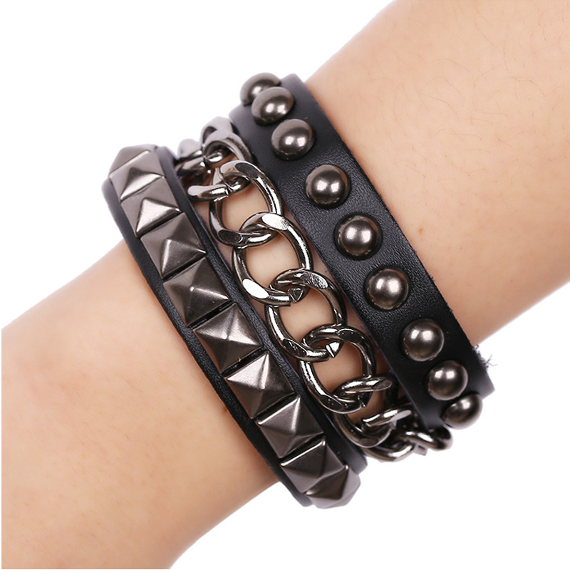 Anime Punk Men Women Bracelet Multi Layers Metal Chain Leather Jewelry Birthday Gift Rivet Pave Clasps Black