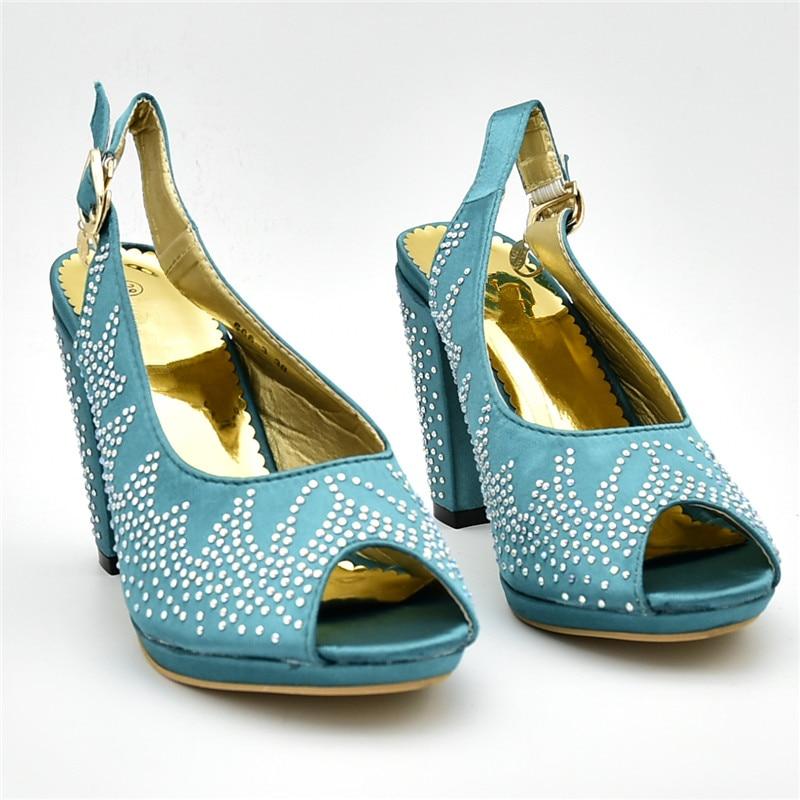 verde Africana A Y Zapatos Bolsas De Azul oro fuchsia Mujeres Partido Decorado Con Color Juego Último Imitación Bolso Verde Africano Diamantes Para BAxqSwR
