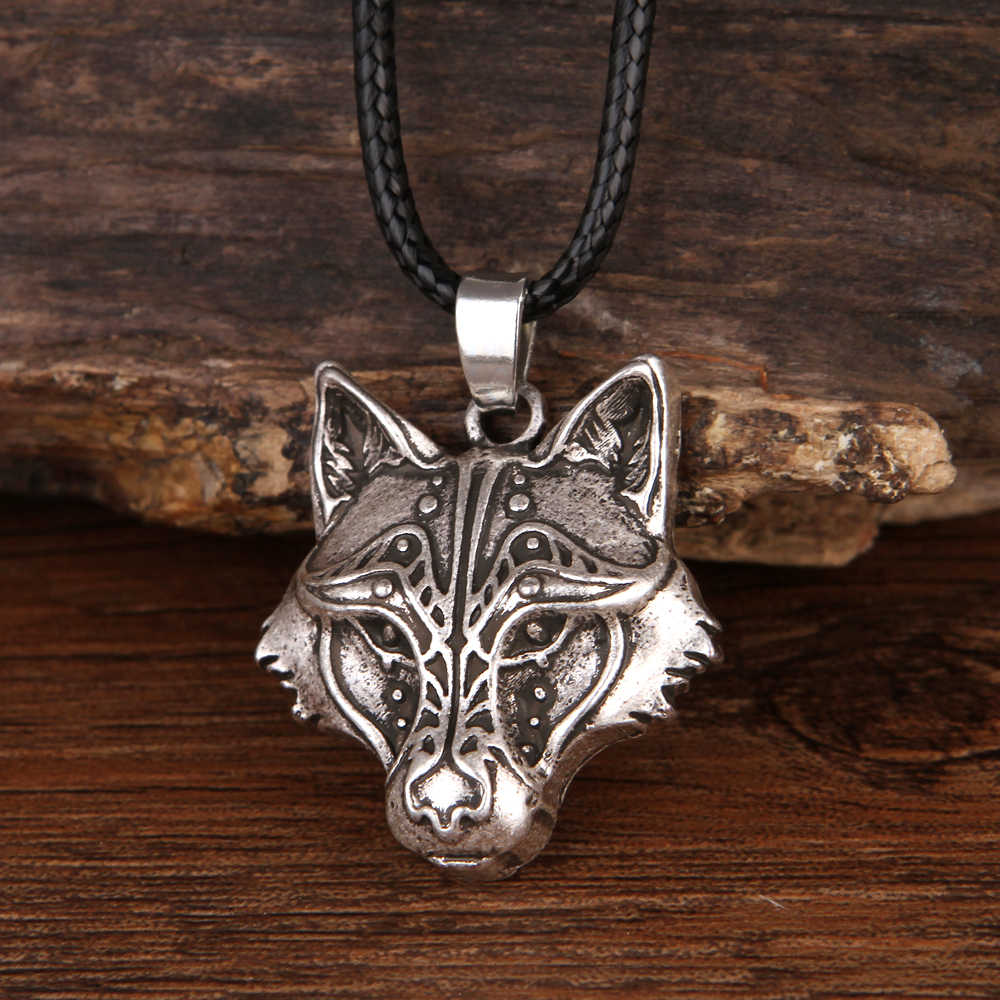 Sanlan Odin Wolf And Raven Winged Pendant Necklace Animal Moon Necklaces Male Jewelry Gifts Choker