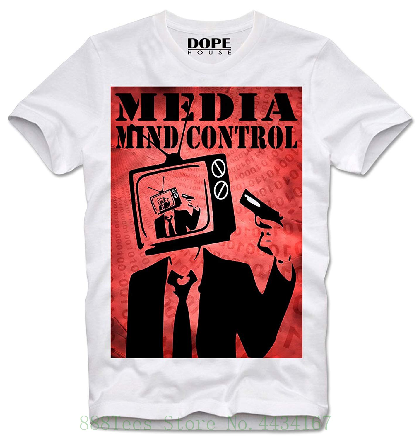 Hot Sale Dopehouse T Shirt Media Mind Control Brain Wash Nwo New Acrylick Online Men39s Short Circuit Tshirt World Order Tv Fake News Simple Sleeved Cotton