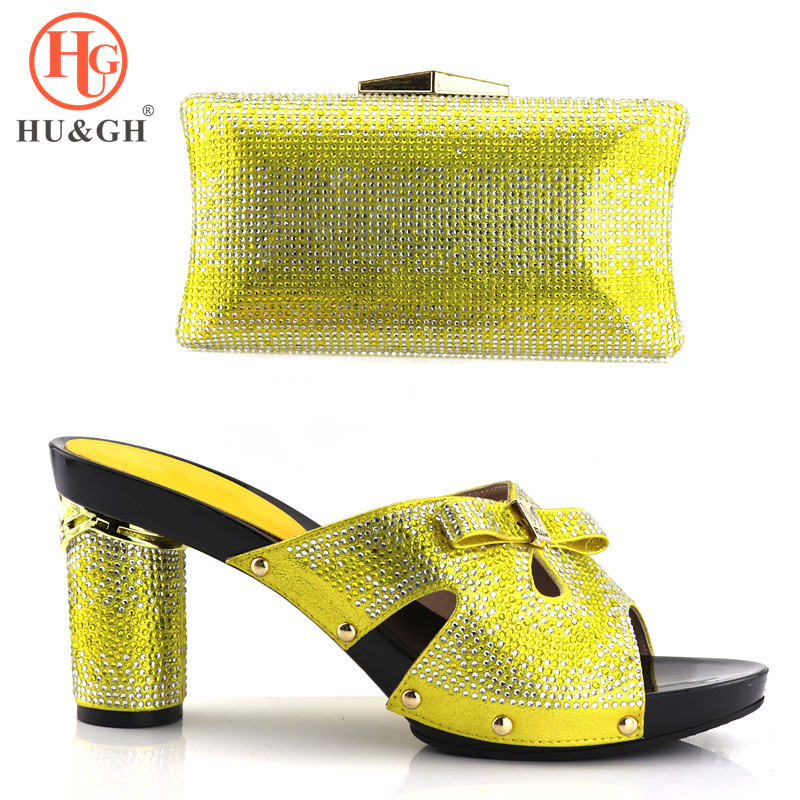 African shoe and bag set high heel Italian shoe with matching bag best selling ladies matching shoe and bag Italy Yellow shoes цены онлайн