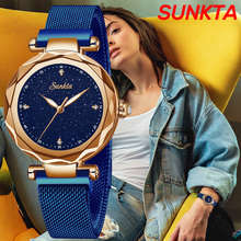 SUNKTA Women Watches Top Brand Luxury Ladies Mesh Belt Ultrathin Watch Stainless Steel Waterproof Clock Quartz Watch Reloj Mujer delicate women watches ultrathin stainless steel mesh band fashion quartz wrist watch ladies watch clock wristwatches gift pt