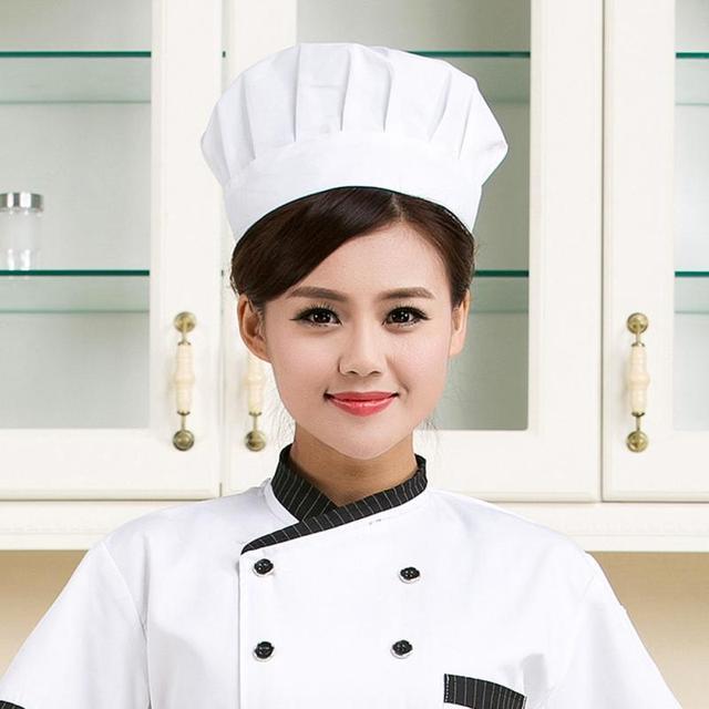 Nuevo adultos elástica blanca del sombrero del cocinero del panadero cocina  que cocina gorra traje 1 d2eb7bbed45