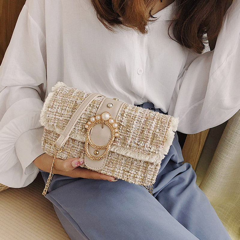 Fashion Women New Knit Flap Shoulder Bag INS Popular Casual Female Tassel Weave Handbag Mini Lady Pearl Chain Crossbody SS3458 (18)