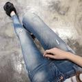Осенняя Мода 26-31 Высокая Талия джинсы Высокой Упругой плюс размер Женщин Джинсы женщина роковая промывают повседневная тощий карандаш джинсовые брюки