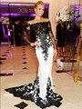 Branco e Preto Celebridade Vestidos Sereia Longo 2015 Apliques de Luxo Paris Hilton Mangas Compridas Vestido Do Tapete Vermelho