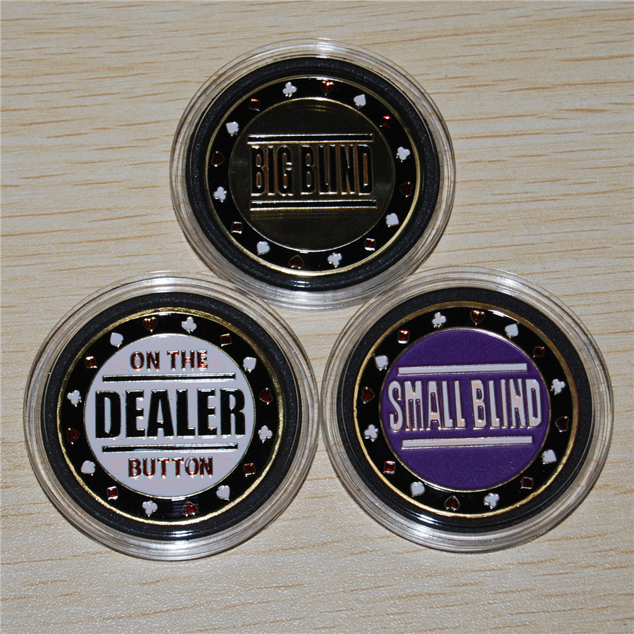 Us 11 99 Free Shipping 3pcs Lot Metal Big Blind Small Blind Dealer Button Poker Buttons Texas Hold Em Buttons In Non Currency Coins From Home