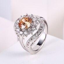 55440c044b1c ZHE FAN de lujo en forma de girasol anillo Champagne AAA Cubic Zirconia  anillos de cobre 6 garras chapados en rodio joyería tama.