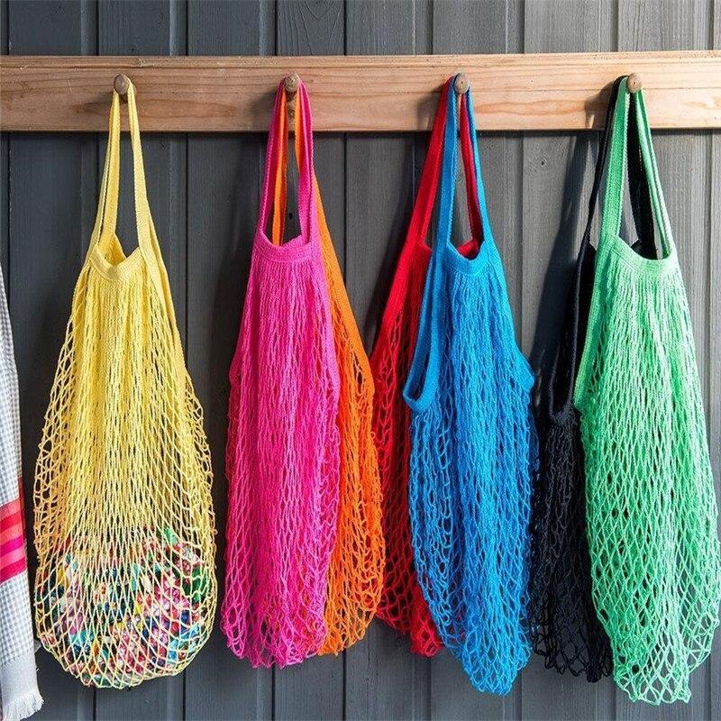 Reusable Fruit Shopping String Grocery Shopper Cotton Tote Mesh Woven Net Bag Solid Shopping Bags
