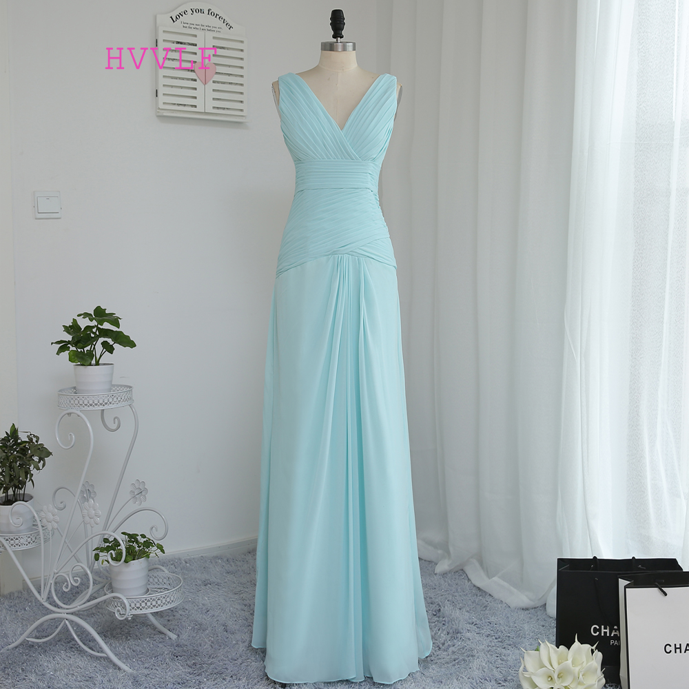 HVVLF 2019 Cheap   Bridesmaid     Dresses   Under 50 A-line V-neck Floor Length Mint Green Chiffon Wedding Party   Dresses