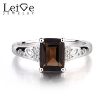 Leige Jewelry Solid 925 Sterling Silver Real Natural Smoky Quartz Cocktail Party Rings Emerald Cut Fine