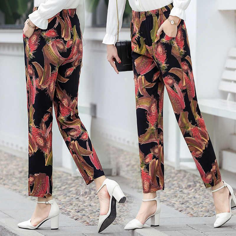 2019 ファッション長ズボンの夏の弾性ウエストプリント鉛筆のズボンゆるいカジュアルなプラスサイズの女性のパンツハイウエストズボン XL-5XL