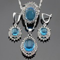 Christmas  Gift Silver Color Light Blue White Crystal Jewelry Sets For Women Drop Earrings/Pendant/Necklace/Rings Free Box