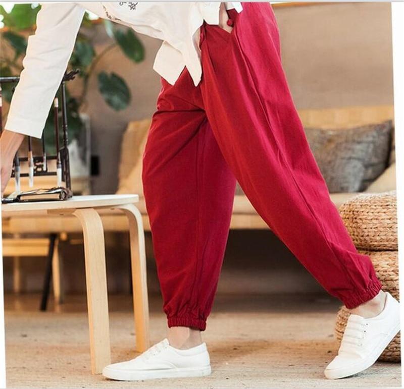Calças Perna Larga Calças Plus Size Cintura Com Cordão Masculino M-7XL