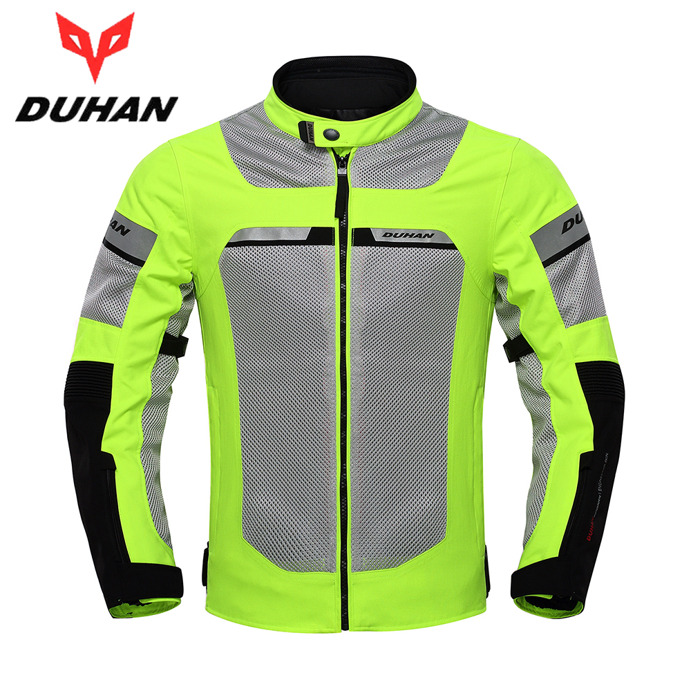 DUHAN Motorcycle Jacket Men Motorbike Racing Jackets Protective Gear Summer Mesh Breathable Moto Jacket Black Fluorescent Green universal cute funny jacket style cellphone bag blue fluorescent green