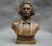 11 Chinese Bronze Copper Great literator Scientist Einstein Head Busts Statue