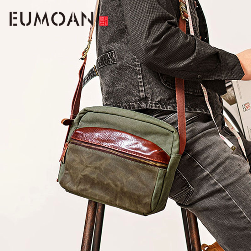 EUMOAN Crossbody mens tide brand canvas small outdoor mens bag European and American street mens bag shoulder bagEUMOAN Crossbody mens tide brand canvas small outdoor mens bag European and American street mens bag shoulder bag