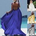 Ropa de verano para las mujeres embarazadas Europa y los Estados Unidos Color puro espalda Boho vestido de embarazo para la foto