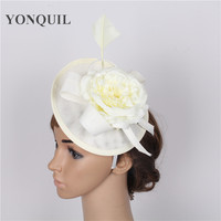 New Style Party Rose Flower Fascinator Base For Wedding Occasion Hair Band Hats Bridal Feather Hair