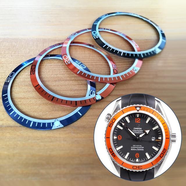 Lichtgevende aluminium 41mm bezels inserts loop voor OMG seama planet ocean automatische Chronograaf orange/balck/blauw horloge onderdelen gereedschappen