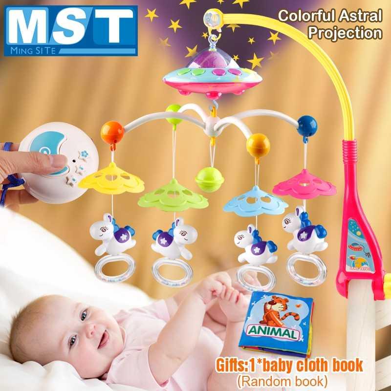 Детские игрушки 0-12 месяцев детская кроватка Мобильная музыкальная кровать колокольчик Висячие погремушки проекция мультяшная книга Игрушки для маленьких мальчиков Развивающие детские игрушки
