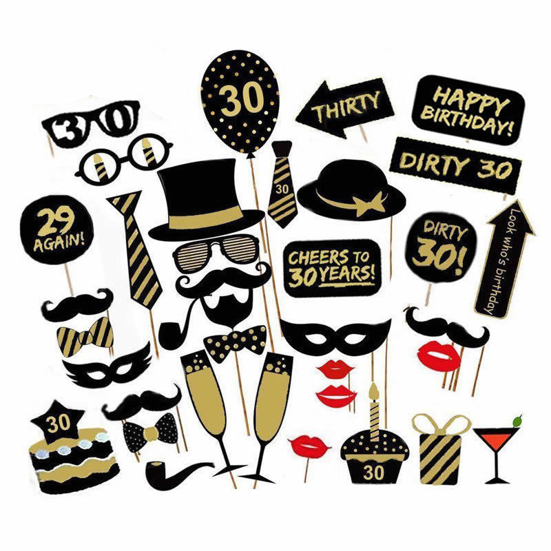 16/18/21st/30/40/50/60th Happy Birthday Party Supplies Photo Booth Props Man Woman Birthday Party Decorations Photobooth