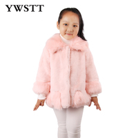 Ywstt Girl Imitation Fox Fur 2017 Girl New Stitching Fur Child Warm Jacket Kids Winter Clothing